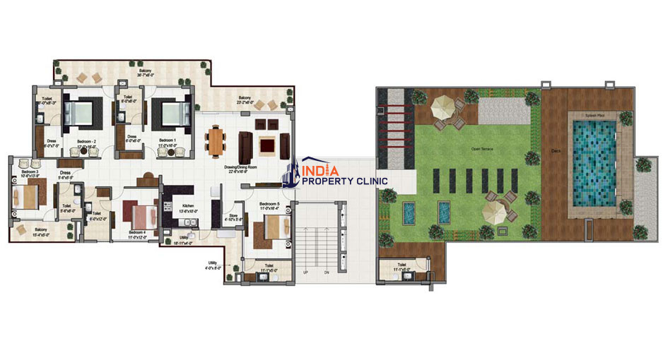 5 BHK Penthouse with a huge Terrace