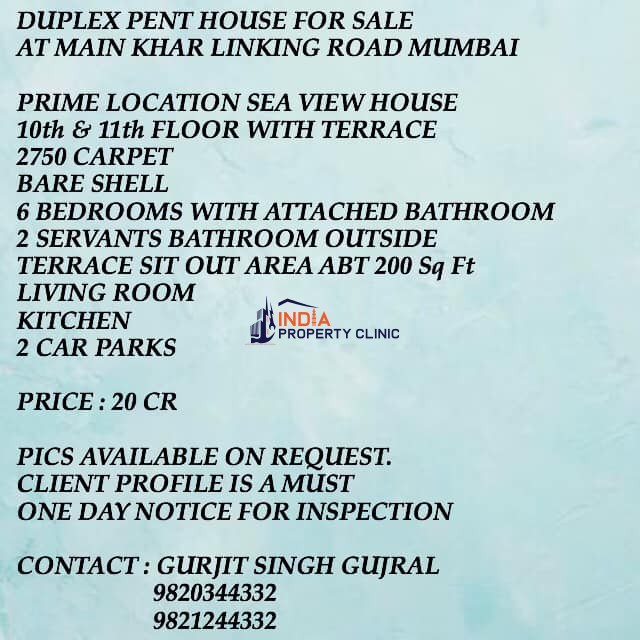 6 BHK DUPLEX PENT HOUSE FOR SALE