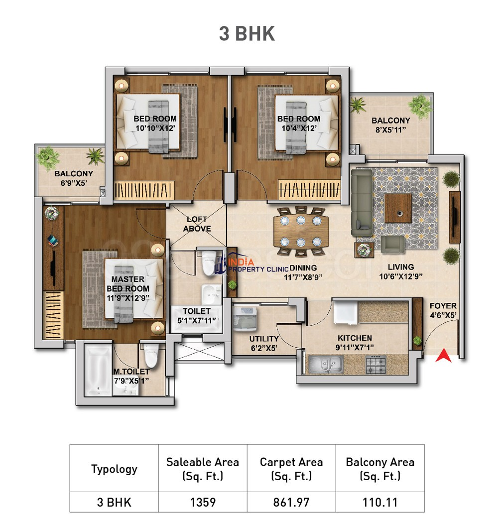 3 BHK Flat For Sale Hero Homes