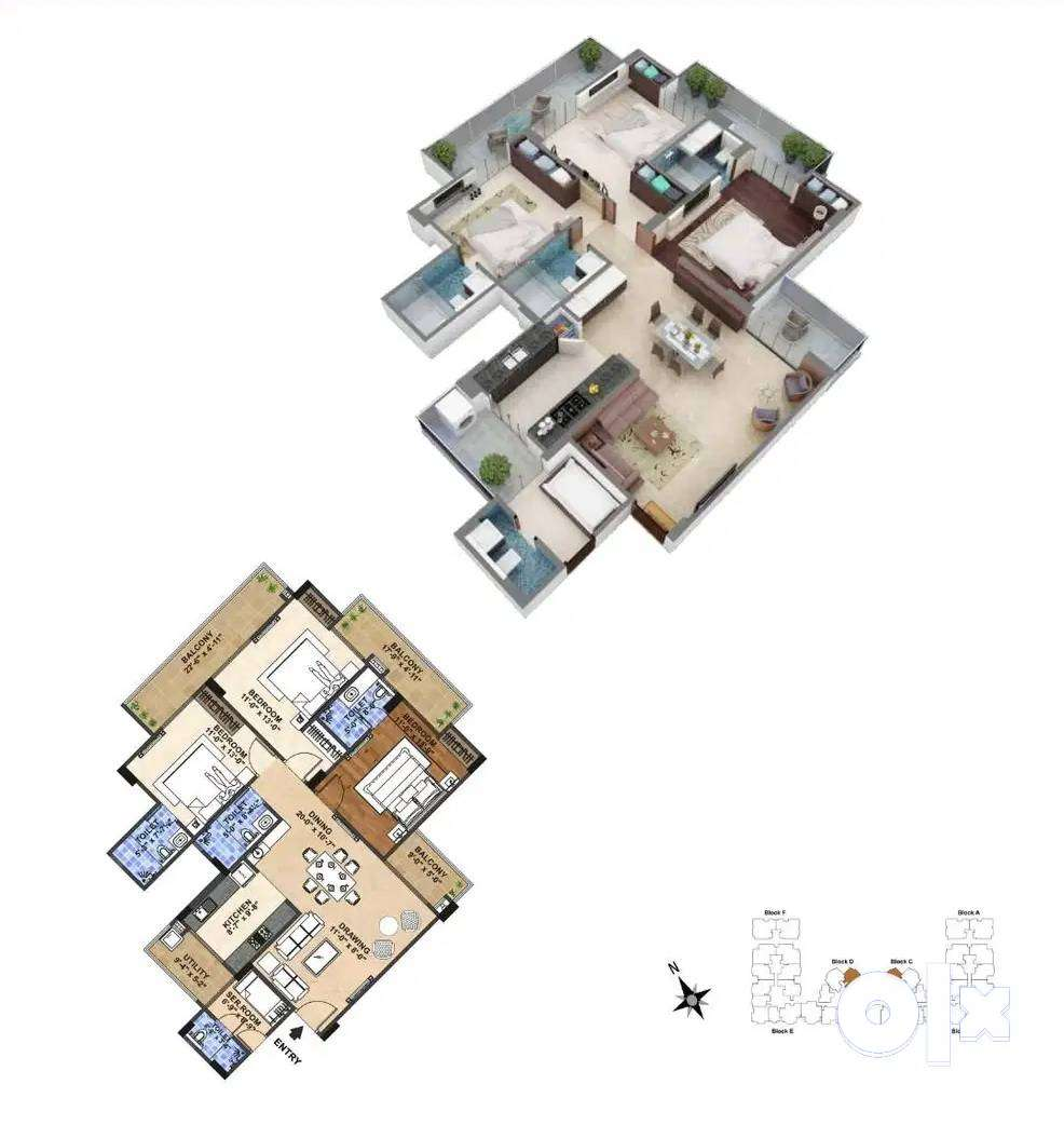 $Low Cost% 1453sqft 3BHK flat/for sale in Ajmer
